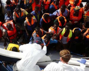 MOAS rescue 105 migrants in rubber dinghy October 4, 2014. Photo: Darrin Zammit Lupi/MOAS